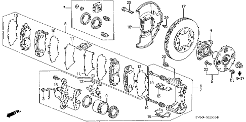 1994 accord EX 5 DOOR 4AT FRONT BRAKE diagram