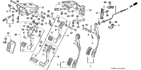 1997 accord EX 5 DOOR 4AT PEDAL diagram
