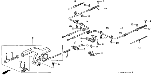 1996 accord LX 5 DOOR 4AT PARKING BRAKE diagram