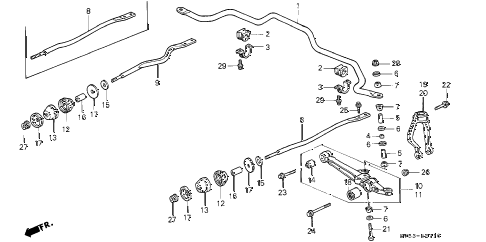 1995 accord LX 5 DOOR 4AT FRONT LOWER ARM diagram