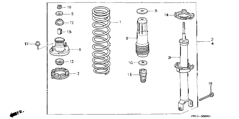 1994 accord LX 5 DOOR 5MT REAR SHOCK ABSORBER diagram