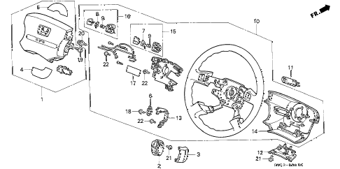 1994 accord LX 5 DOOR 5MT STEERING WHEEL diagram