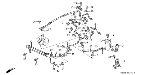1994 accord EX 5 DOOR 5MT P.S. HOSES - PIPES diagram