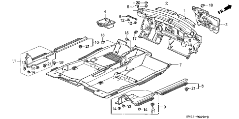 1996 accord LX 5 DOOR 5MT FLOOR MAT diagram