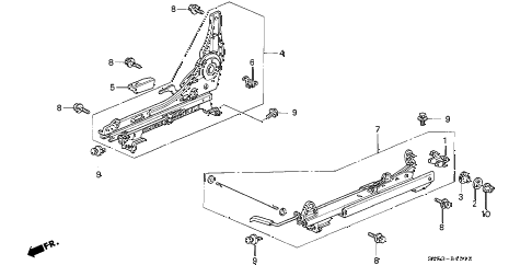 1994 accord EX 5 DOOR 4AT FRONT SEAT COMPONENTS (3) diagram