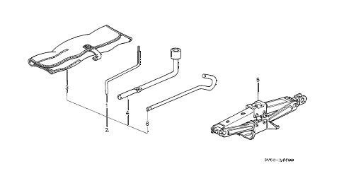 1994 accord LX 5 DOOR 4AT TOOLS - JACK diagram