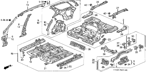 1997 accord EX 5 DOOR 4AT INNER PANEL diagram