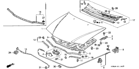 1994 accord LX 5 DOOR 4AT HOOD diagram