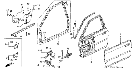 1994 accord LX 5 DOOR 5MT FRONT DOOR PANELS diagram
