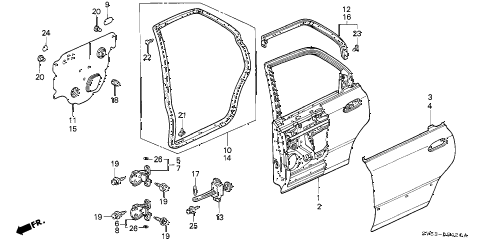 1994 accord LX 5 DOOR 5MT REAR DOOR PANELS diagram
