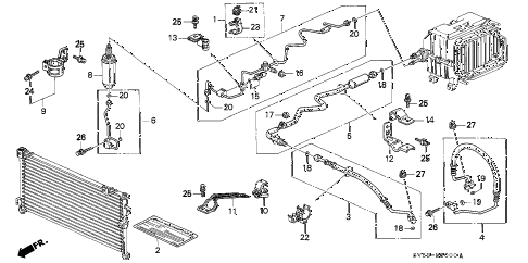 1997 accord EX 5 DOOR 4AT A/C HOSES - PIPES diagram