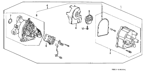 1996 accord LX 5 DOOR 4AT DISTRIBUTOR (TEC) diagram