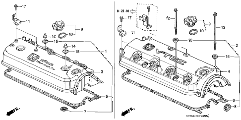 1995 accord LX 5 DOOR 5MT CYLINDER HEAD COVER diagram