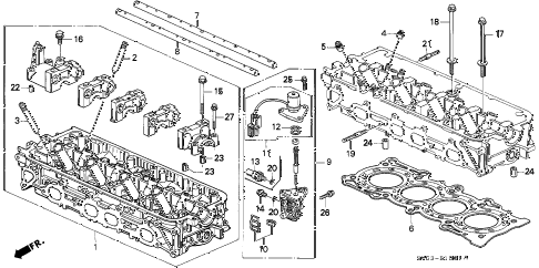 1994 accord EX 5 DOOR 5MT CYLINDER HEAD (2) diagram