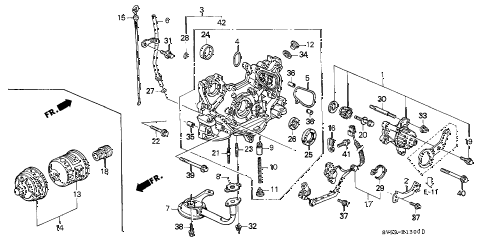 1996 accord LX 5 DOOR 4AT OIL PUMP - OIL STRAINER diagram