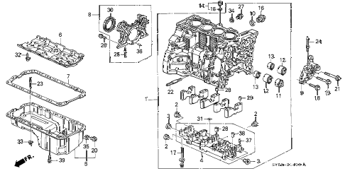 1994 accord EX 5 DOOR 4AT CYLINDER BLOCK - OIL PAN diagram