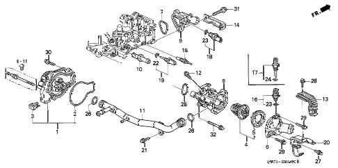 1994 accord LX 5 DOOR 5MT WATER PUMP - SENSOR diagram