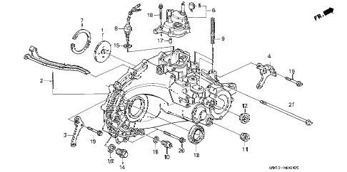 1994 accord EX 5 DOOR 5MT MT TRANSMISSION HOUSING diagram