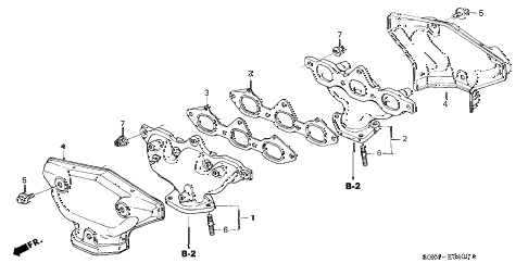 2004 odyssey LX 5 DOOR 5AT EXHAUST MANIFOLD diagram