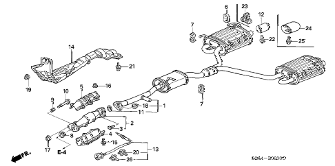 2002 s2000 S2000 2 DOOR 6MT EXHAUST PIPE diagram