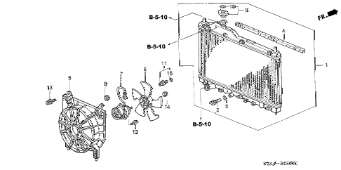 2001 s2000 S2000 2 DOOR 6MT RADIATOR (DENSO) diagram
