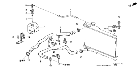 2005 s2000 S2000 2 DOOR 6MT RADIATOR HOSE diagram