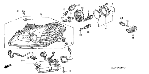 2003 s2000 S2000 2 DOOR 6MT HEADLIGHT (1) diagram