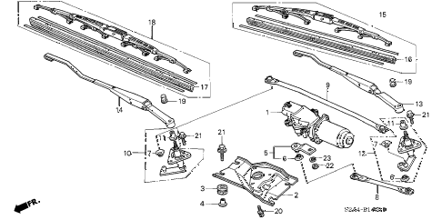 2004 s2000 S2000 2 DOOR 6MT FRONT WIPER diagram
