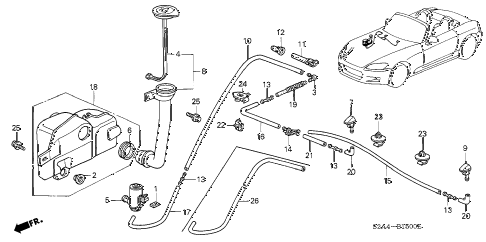 2002 s2000 S2000 2 DOOR 6MT WINDSHIELD WASHER (1) diagram