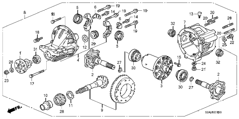 2001 s2000 S2000 2 DOOR 6MT REAR DIFFERENTIAL diagram