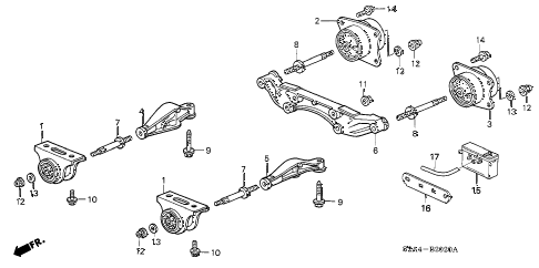 2005 s2000 S2000 2 DOOR 6MT REAR DIFFERENTIAL MOUNT diagram