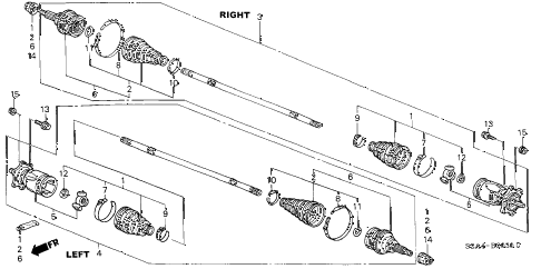 2001 s2000 S2000 2 DOOR 6MT REAR DRIVESHAFT diagram