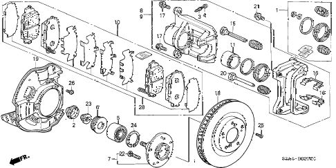 2000 s2000 S2000 2 DOOR 6MT FRONT BRAKE diagram