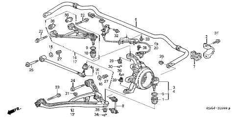 2003 s2000 S2000 2 DOOR 6MT REAR LOWER ARM diagram