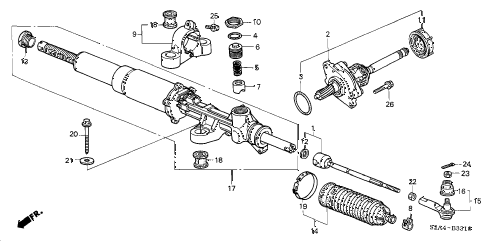 2004 s2000 S2000 2 DOOR 6MT P.S. GEAR BOX diagram
