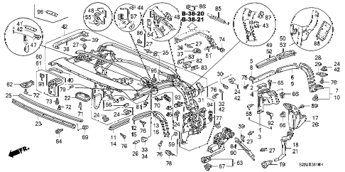 2001 s2000 S2000 2 DOOR 6MT SOFT TOP FRAME diagram