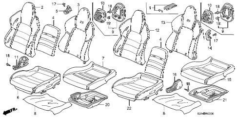 2004 s2000 S2000 2 DOOR 6MT SEAT diagram