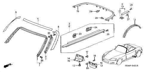 2006 s2000 S2000 2 DOOR 6MT MOLDING - PROTECTORS diagram