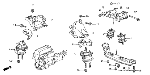 2001 s2000 S2000 2 DOOR 6MT ENGINE MOUNTS diagram