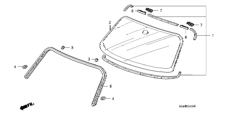 2005 s2000 S2000 2 DOOR 6MT FRONT WINDSHIELD diagram
