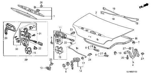 2002 s2000 S2000 2 DOOR 6MT TRUNK LID diagram