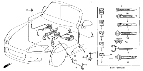 2004 s2000 S2000 2 DOOR 6MT ENGINE WIRE HARNESS diagram