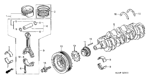 2005 s2000 S2000 2 DOOR 6MT PISTON - CRANKSHAFT diagram