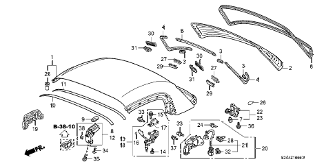 2004 s2000 S2000 2 DOOR 6MT ROOF PANEL (HARDTOP) diagram