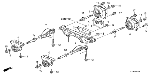 2008 s2000 CR 2 DOOR 6MT REAR DIFFERENTIAL MOUNT diagram