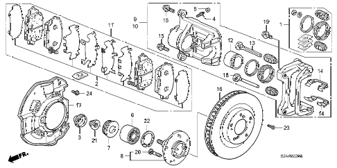 2008 s2000 BASE 2 DOOR 6MT FRONT BRAKE diagram