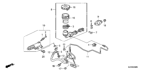 2009 s2000 BASE 2 DOOR 6MT CLUTCH MASTER CYLINDER diagram