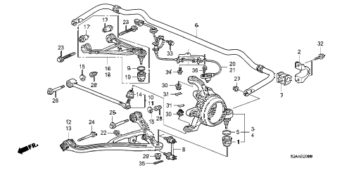 2008 s2000 CR(WITH AC) 2 DOOR 6MT REAR LOWER ARM diagram