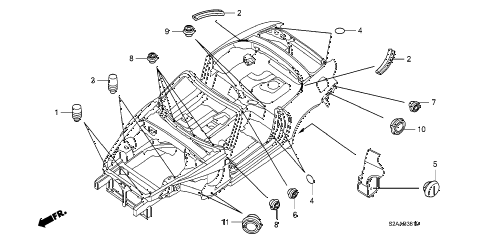 2008 s2000 BASE 2 DOOR 6MT GROMMET (UPPER) diagram