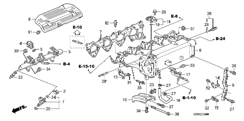 2008 s2000 BASE 2 DOOR 6MT INTAKE MANIFOLD diagram